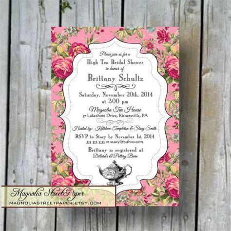 high tea bridal shower invitation custom printable high