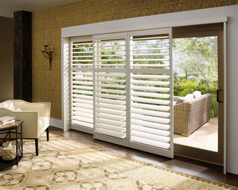 Sliding Plantation Shutters For Patio Doors Sliding Glass Door Plantation Shutters Traditional Living Room St Louis By Two Blind Guys