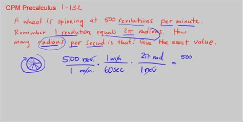 How To Search On Second Cpm Precalculus 1 132 Revolutions Per Minute To Radians Per Second
