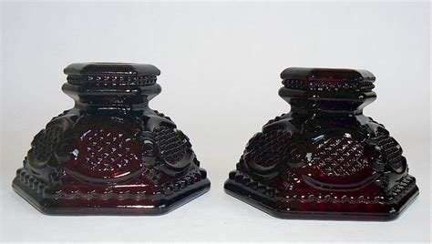 Candle Holder Glass Box Avon 1876 Cape Cod Ruby Glass 2 Candle Holders