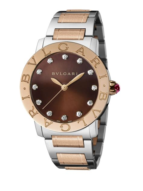 Bvlgari Bv029 Brown Rosegold bvlgari 18k gold stainless steel bracelet in metallic lyst