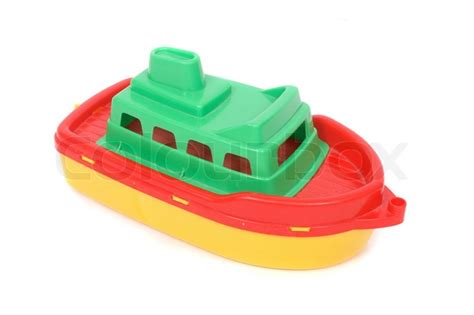 toy boat picture plastic toy boat on the white background stock photo