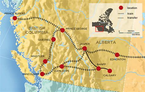 map of canada west tours from vancouver to banff calgary toronto