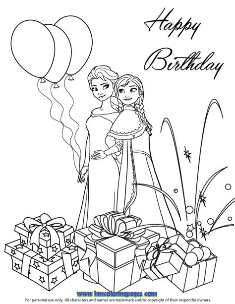 Free Coloring Pages Of Frozen Birthday Cards Happy Birthday Princess Coloring Pages Printable
