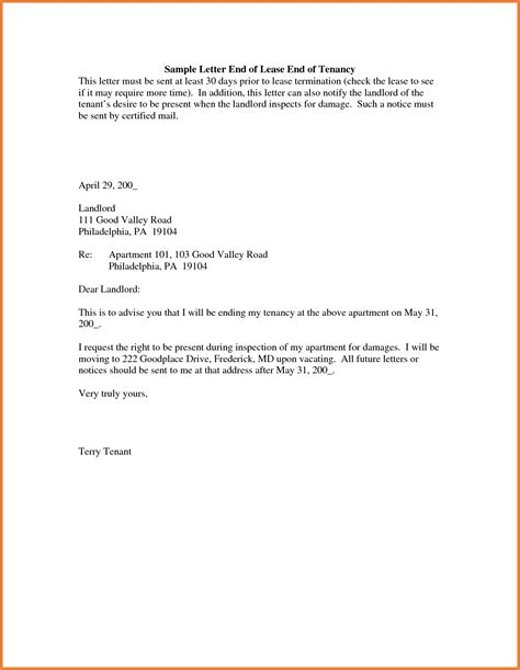 Rental Letter To Tenant Lease Termination Letter Sop