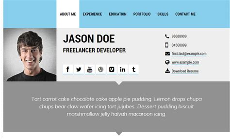 profile card template 30 best resume cv html templates for personal business