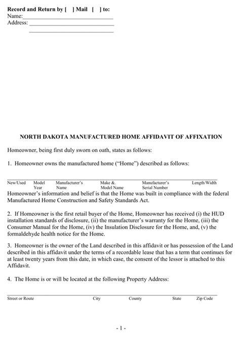 north dakota manufactured home affidavit