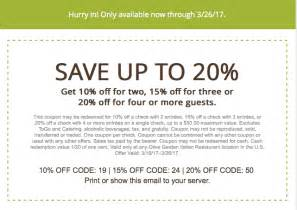 Garden Of Coupons 20 At Olive Garden With Printable In Store Coupon 2017