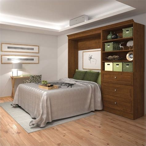 wall storage bedroom sets bestar versatile 95 full wall bed with 3 drawer storage
