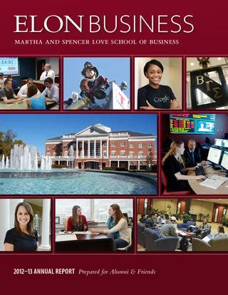 Elon Mba Review by 2012 13 Elon School Of Business Annual Report By