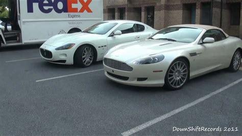 Aston Martin Vs Maserati by Aston Martin Db9 Volante Maserati Granturismo Parked