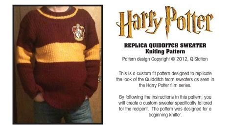 free downloadable harry potter knitting patterns harry potter replica quidditch sweater knitting pattern