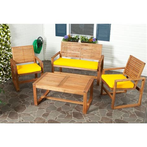 safavieh ozark 4 piece patio seating set with yellow