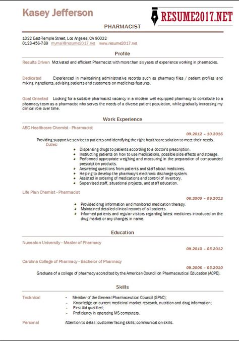 pharmacist resume template pharmacist resume 2017 templates
