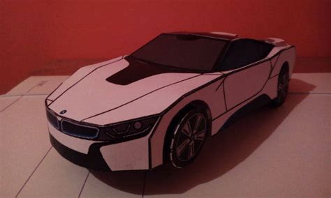 simple bmw i8 paper car free paper model