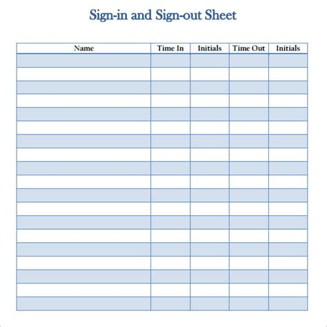 work sign in and out sheet template sign out sheet template 11 free sles exles format