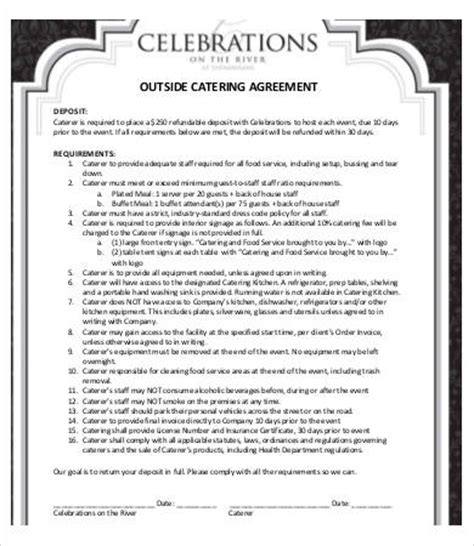 sample catering contract template templates beautiful contracts