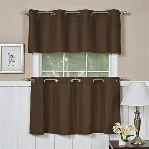 elrene essex grommet 60 quot x 17 quot kitchen valance chocolate brown
