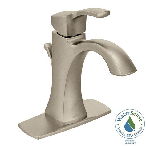 kitchen sink faucets moen moen voss single 1 handle high arc bathroom faucet in brushed nickel 6903bn the home depot
