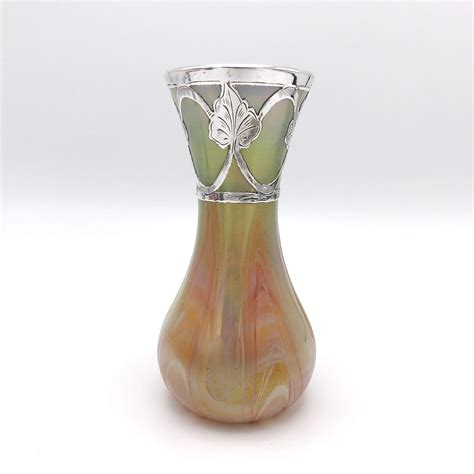 rindskopf glass vase with sterling silver overlay circa