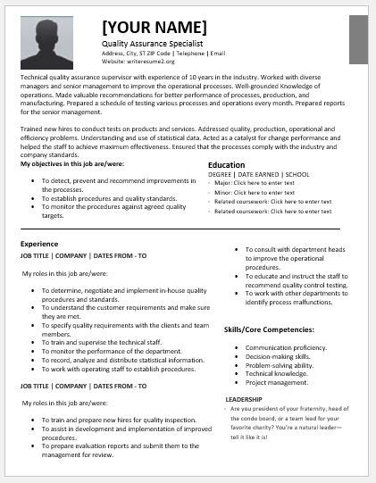 Resume Template Quality by Quality Assurance Specialist Resumes For Ms Word Resume