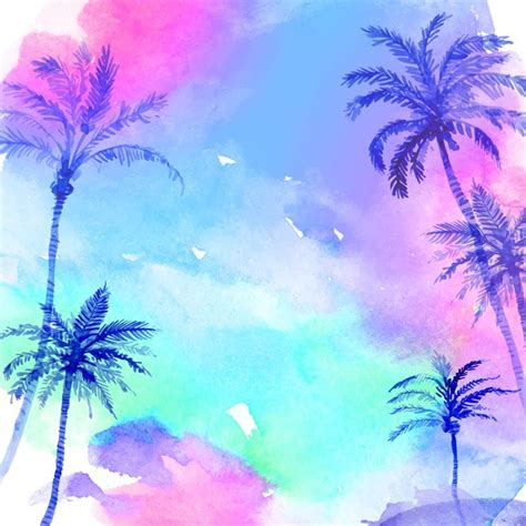 palm trees background sky watercolor palm trees background vector material sky