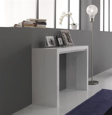 new white gloss console extending dining table by