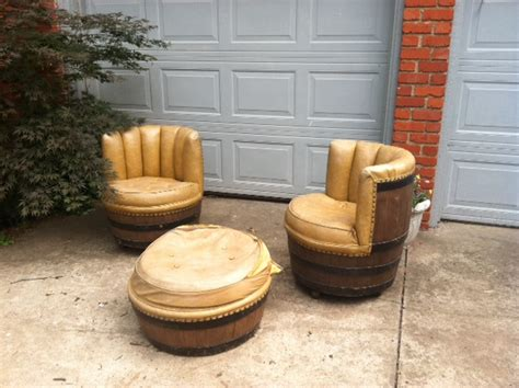 whiskey barrel chairs sold vintage rustic wine whiskey barrel chairs ottoman