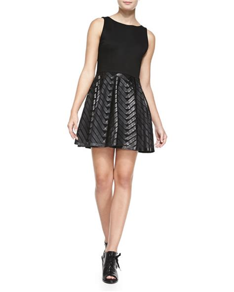 leather swing dress alice olivia zilla leather swing skirt combo dress
