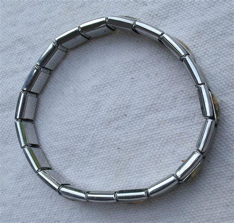 italian charm link bracelet silver stretchy from 2000