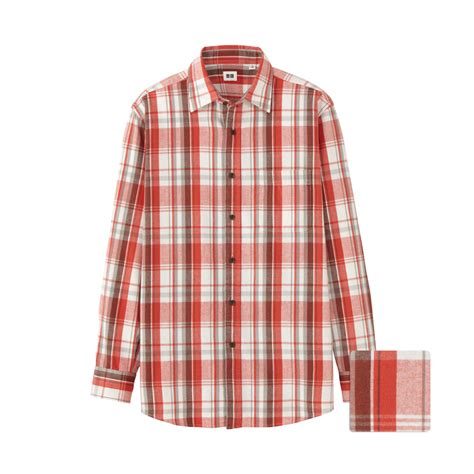 Uniqlo Flannel Shirt uniqlo flannel check sleeve shirt bu in orange for lyst
