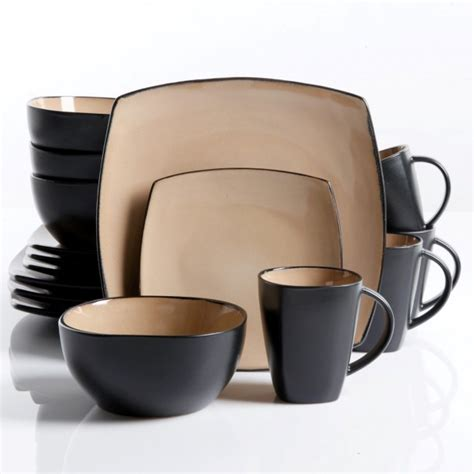 gibson home soho lounge 16 dinnerware set taupe