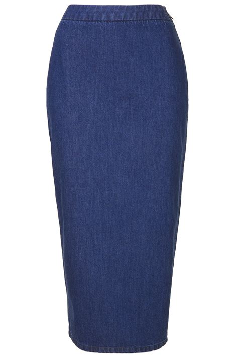 topshop denim pencil skirt by boutique in blue lyst