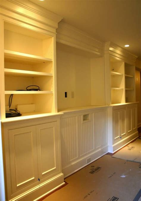 recessed built in basement cabinets entertainment center