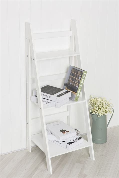 White Ladder Shelf Bookcase White Ladder Shelf With Three Tiers