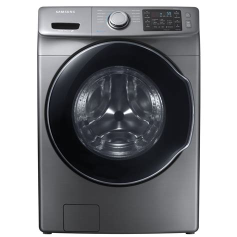 samsung 4 5 cu ft high efficiency front load washer with steam in platinum energy