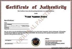 certificate of authenticity templates certificate of authenticity template sle