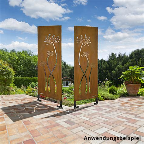 Terrasse Zaun Modern by Sichtschutz Cortenstahl Quot Ginkgopflanze Quot Edelrost Metall In