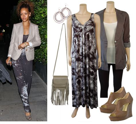 Grey Blazer By Jl Shop this look rihanna grey maxi dress and blazer shop