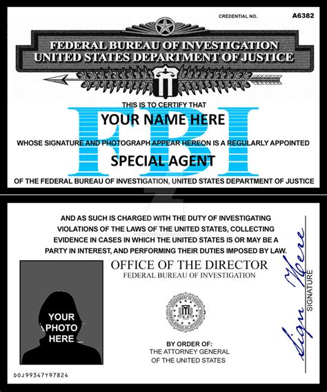 fbi id card template fbi credentials by rustybauder on deviantart