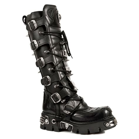 new rock boots knee high style m161 s1 black blue