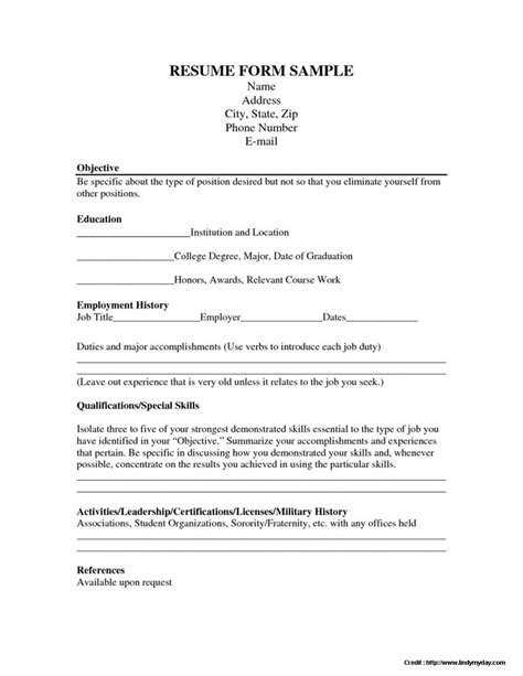 resume application form free resume resume