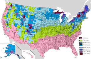 average yearly snowfall in the usa by county oc 1513 x