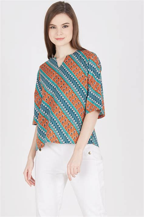 Blouse Batik sell raylie batik blouse in orange batik print
