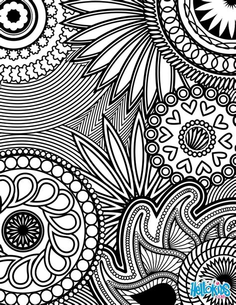 design coloring pages paisley hearts and flowers anti stress coloring design