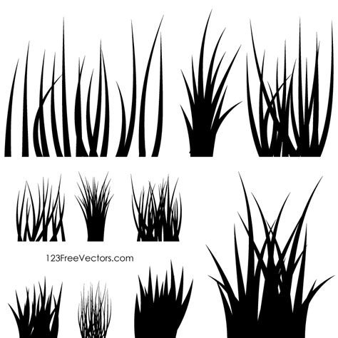 grass silhouette vector 123freevectors
