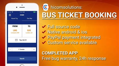 Bus Ticket Booking Ios App Template Script Source Code For Sale Youtube Ticket Booking Website Template