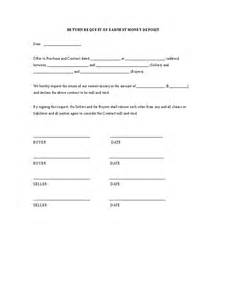 earnest money deposit agreement template return request of earnest money deposit hashdoc