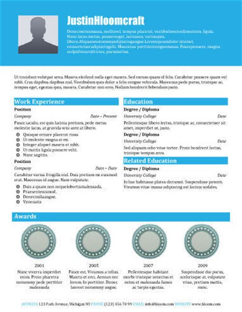 award winning free resume template