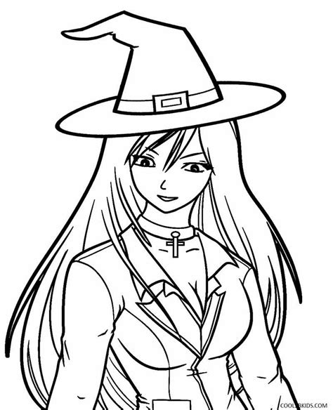 anime witch color girl coloring pages